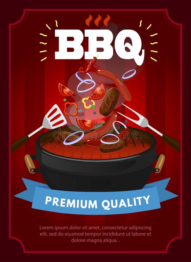 Plantilla del diseño del partido del Bbq con el equipo de la barbacoa, salchichas asadas a la parrilla, filetes y verduras Planti ilustración del vector