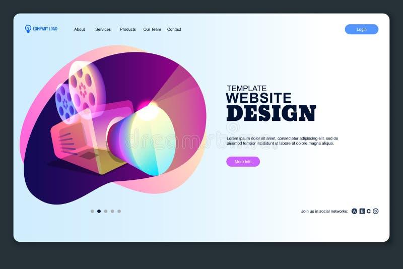 Plantilla del diseño del sitio web Disposición móvil de aterrizaje de la página web Medios concepto del negocio del vector, fondo libre illustration