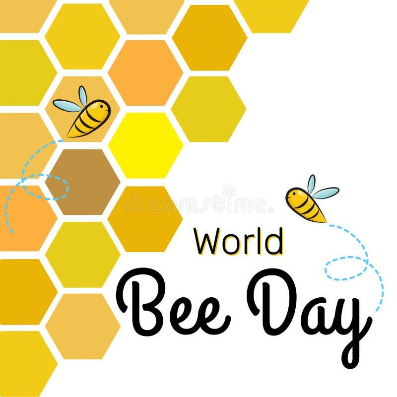 Plantilla del diseño del vector del día de la abeja del mundo con las abejas en el panal ilustración del vector