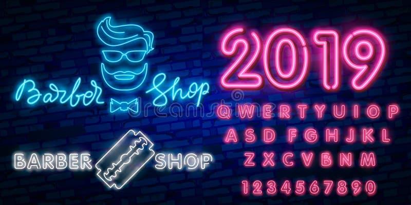Plantilla del diseño del vector de la muestra de Barber Shop Logotipo de neón de Barber Shop, tendencia colorida del diseño moder ilustración del vector