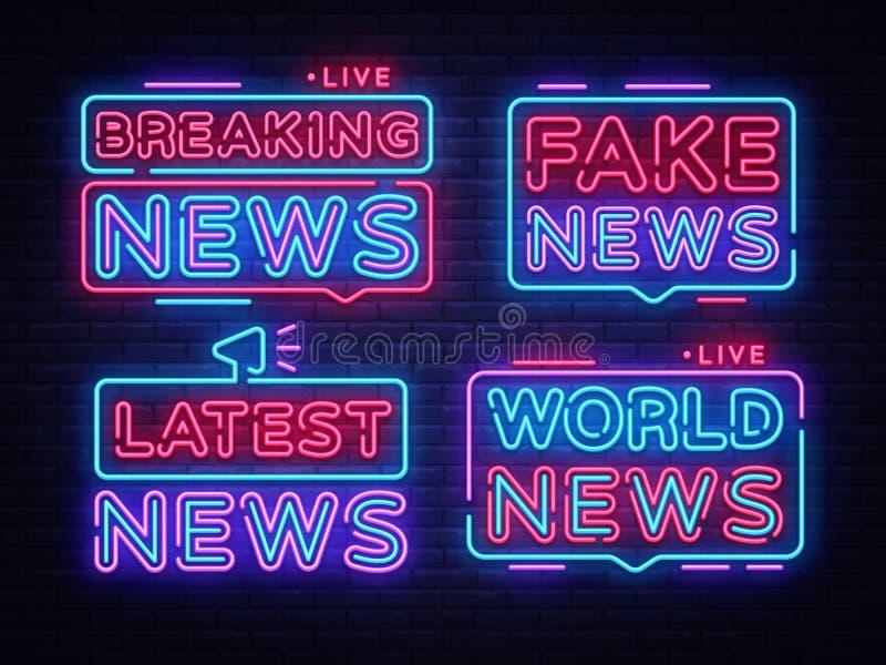 Plantilla del diseño del vector de la muestra de la colección de las noticias de última hora Logotipo de neón de las noticias de  ilustración del vector