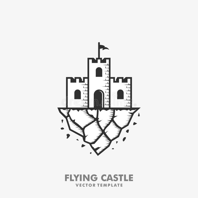 Plantilla del diseño del vector del ejemplo del concepto del castillo que vuela stock de ilustración