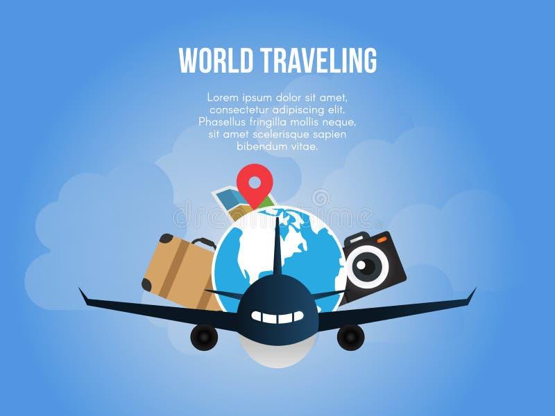 Plantilla del diseño del vector del ejemplo del concepto del mundo que viaja stock de ilustración