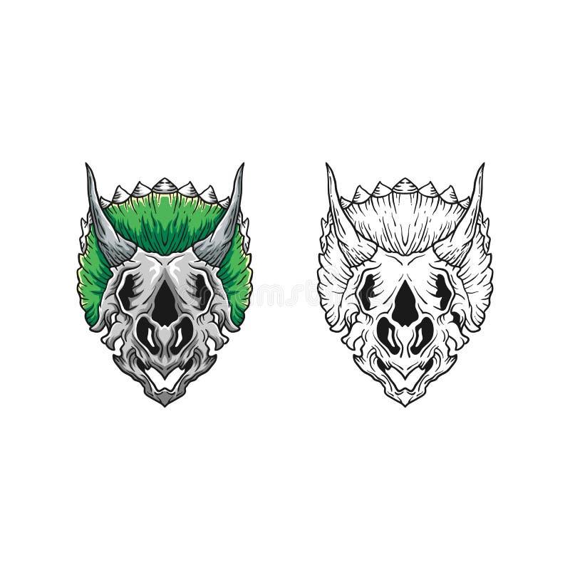Plantilla del diseño del vector del ejemplo de Dino Skull Concept stock de ilustración
