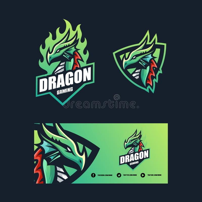 Plantilla del diseño del vector del ejemplo de Dragon Concept stock de ilustración
