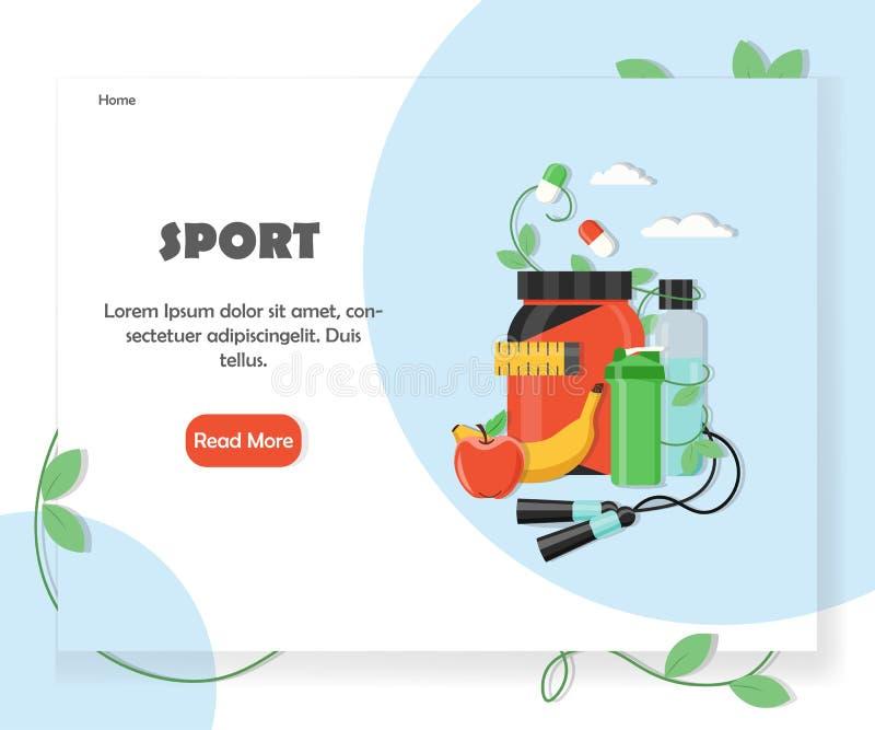 Plantilla del diseño del vector del Home Page del sitio web de los deportes libre illustration