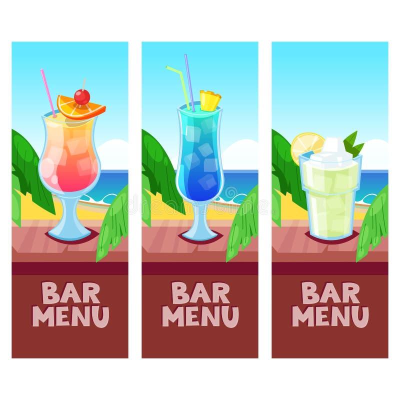 Plantilla del diseño del vector del menú de la barra de la playa con el lugar para el texto Summe stock de ilustración