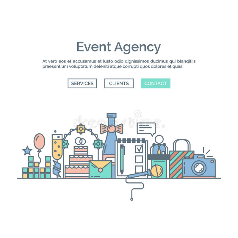 Plantilla del diseño web de la página de la organización una de los eventos y de las ocasiones especiales libre illustration