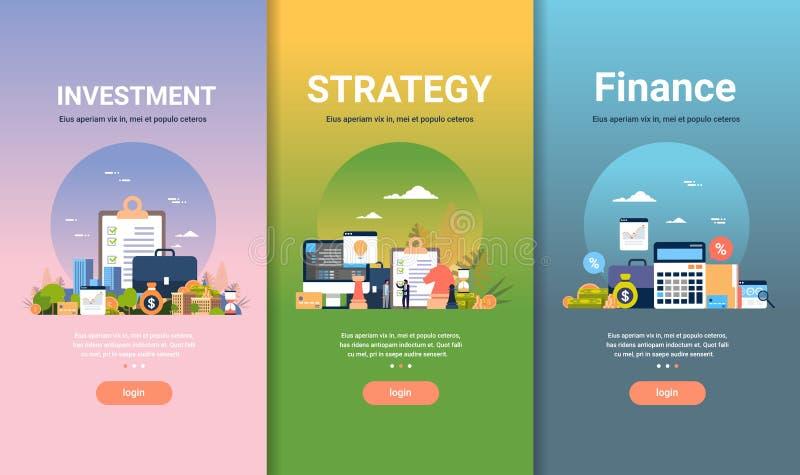 Plantilla del diseño web fijada para el espacio plano de la copia de diversa colección del negocio de los conceptos de la inversi libre illustration