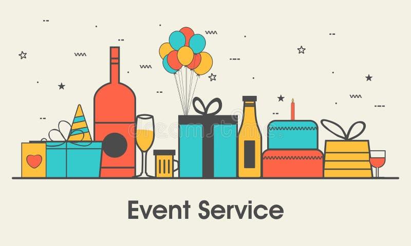 Plantilla del diseño web para el servicio del evento stock de ilustración