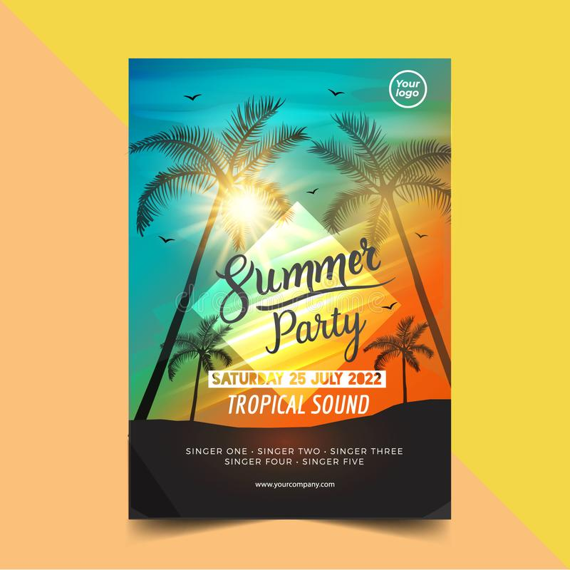 Plantilla del dise?o del cartel del partido del tiempo de verano con las siluetas de los ?rboles de palmas Estilo moderno ejemplo stock de ilustración