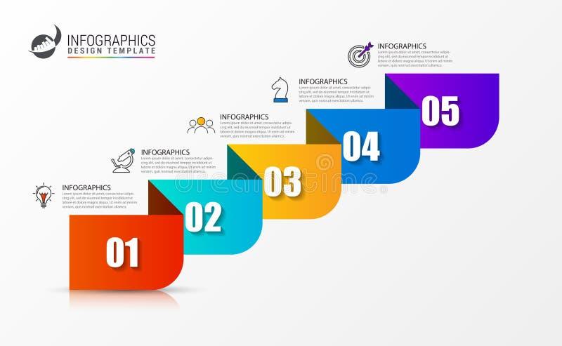 Plantilla del dise?o de Infographic Concepto de la cronolog?a con 5 pasos stock de ilustración