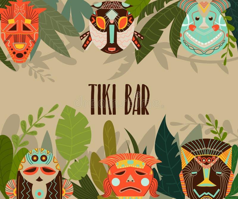 Plantilla del dise?o de la barra de Tiki con las m?scaras y las hojas tribales de la selva Elementos del dise?o con el ornamento