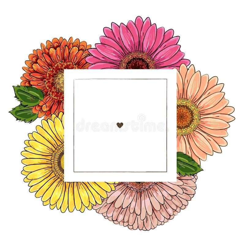 Plantilla del dise?o de la etiqueta Gerbera amarillo-naranja del ejemplo de la mano del vector del rosa exhausto del esquema en m stock de ilustración