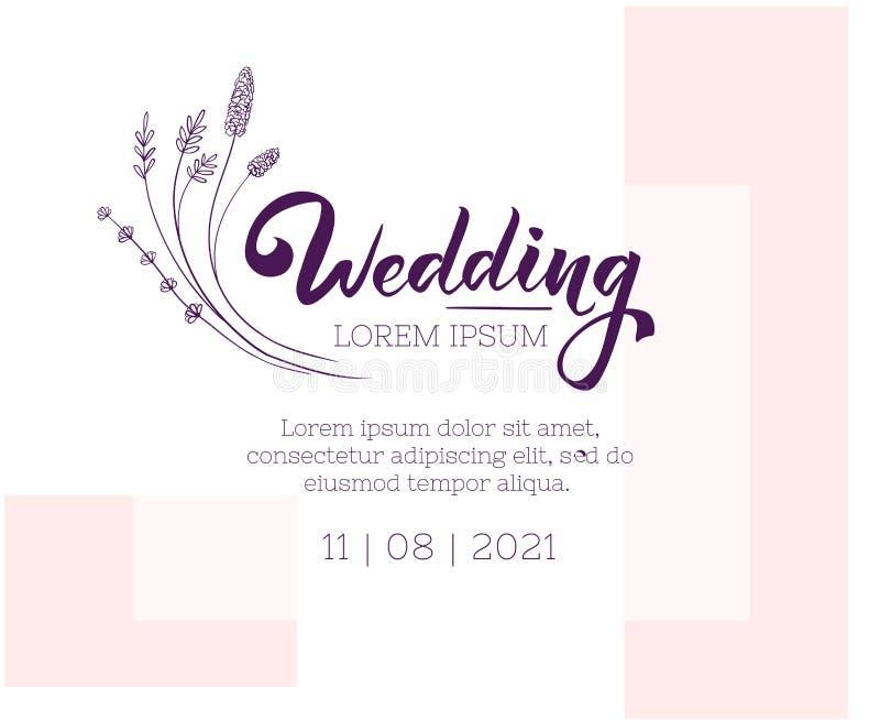 Plantilla del dise?o de la invitaci?n de la boda Disposición floral y abstracta de la tarjeta de felicitación libre illustration