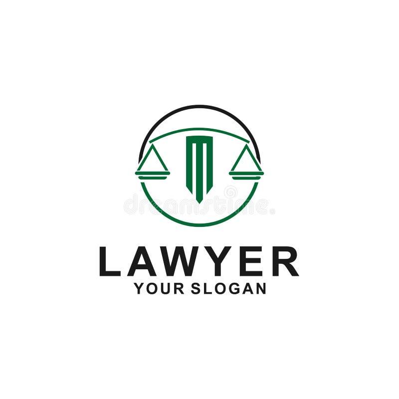 Plantilla del dise?o del logotipo de la ley de la justicia el logotipo del abogado con el pilar y la estrella forman el ejemplo ilustración del vector