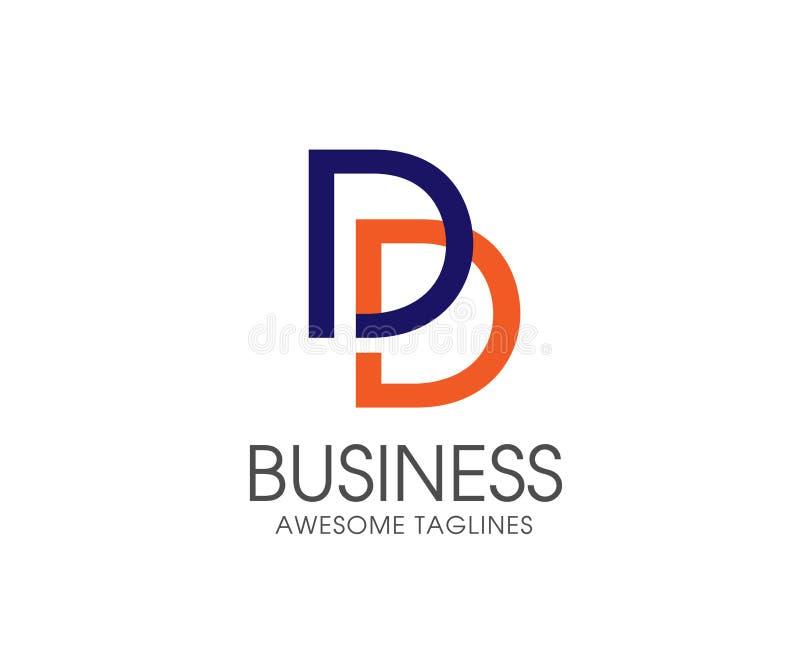Plantilla del ejemplo del vector del diseño del logotipo de la letra de la DD stock de ilustración
