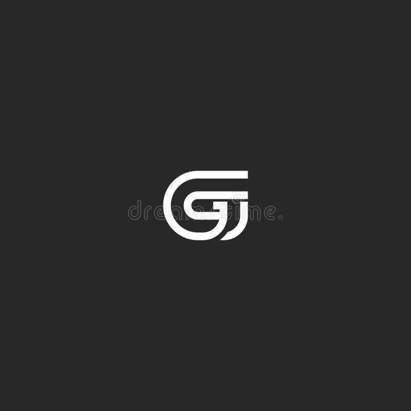 Plantilla del elemento del diseño de la tipografía del monograma del logotipo de la letra de G, marca geométrica simple linear de libre illustration