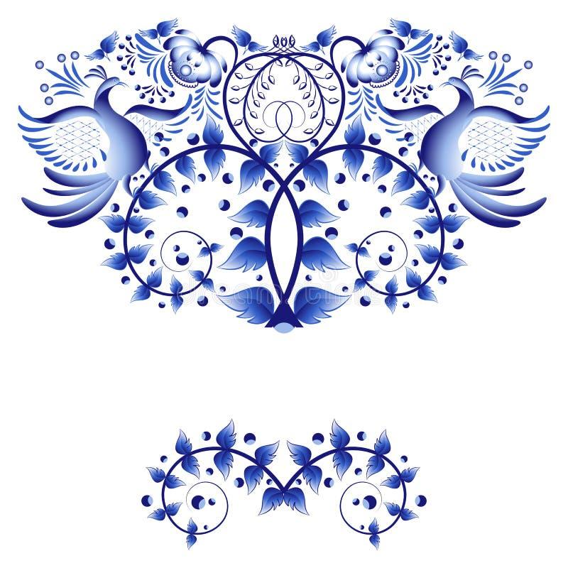 Plantilla del elemento para la tarjeta de felicitación o invitación con el azul pintado con las flores y los pájaros libre illustration