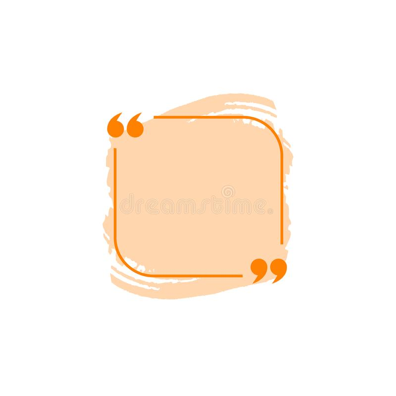 Plantilla del espacio en blanco de caja de la cita del vector, color anaranjado, elemento colorido aislado del diseño libre illustration