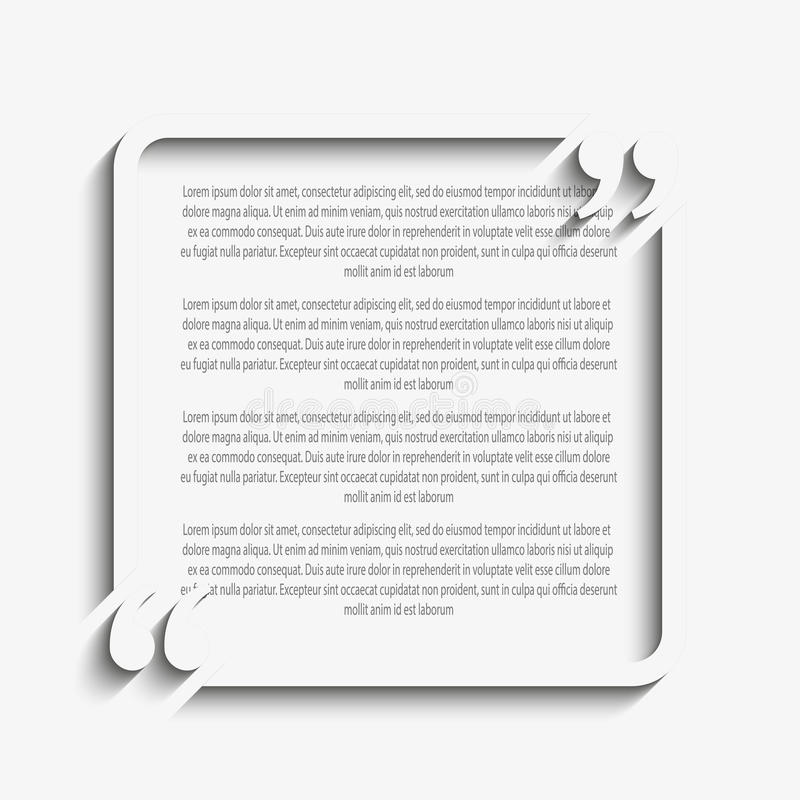 Plantilla del espacio en blanco del cuadrado de la cita del vector corchete libre illustration