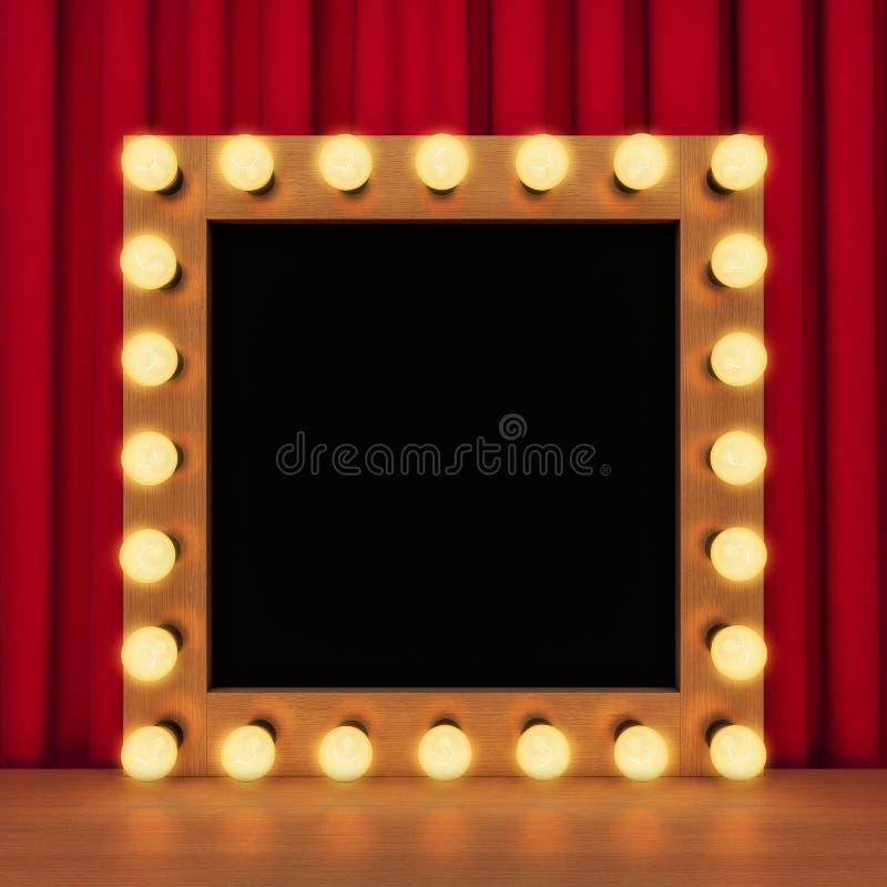 Plantilla del espejo de retrete retro con las bombillas libre illustration