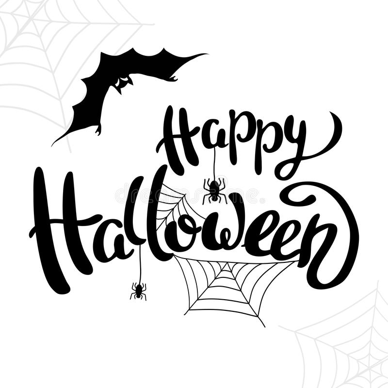 Plantilla del feliz Halloween para la bandera o el cartel Vector ilustración del vector