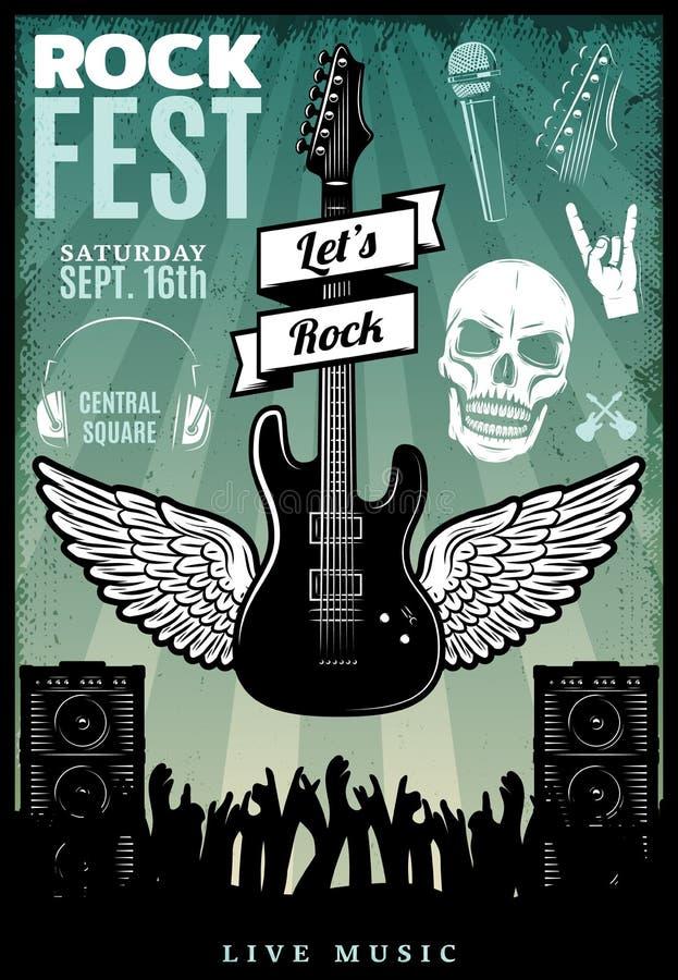 Plantilla del Fest de la música rock del vintage stock de ilustración