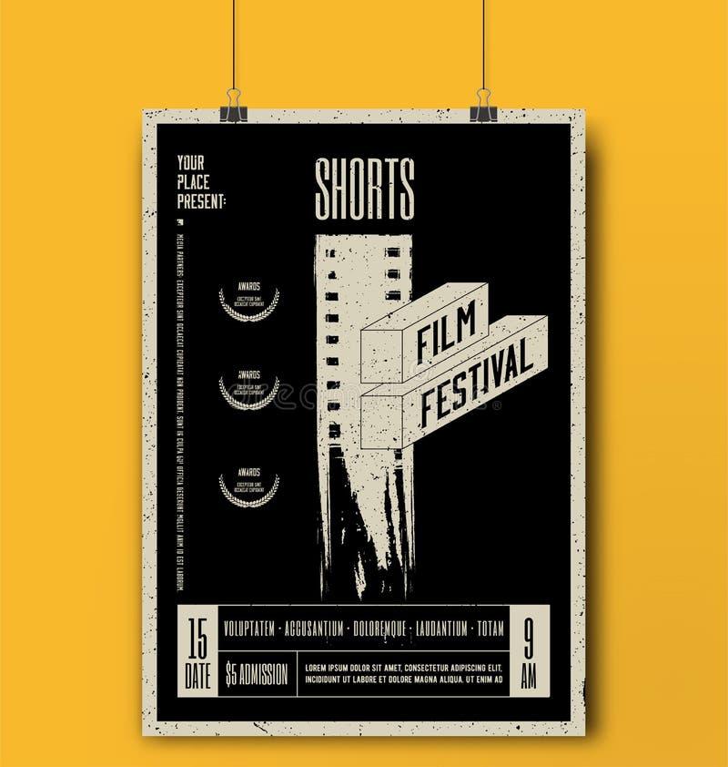 Plantilla del festival de cine de los pantalones cortos Maqueta del cartel de película Ilustración del vector libre illustration