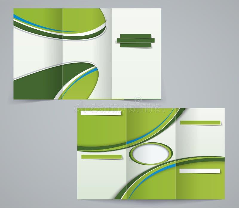 Plantilla del folleto de tres dobleces, aviador corporativo o diseño de la cubierta en colores verdes stock de ilustración