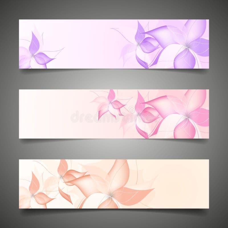 Plantilla del folleto del fondo del vector de la flor. stock de ilustración
