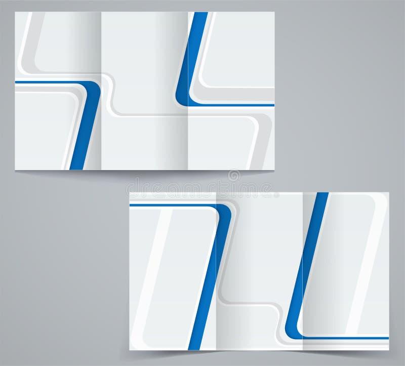 Plantilla del folleto del negocio de tres dobleces, aviador corporativo o diseño de la cubierta en colores azules stock de ilustración