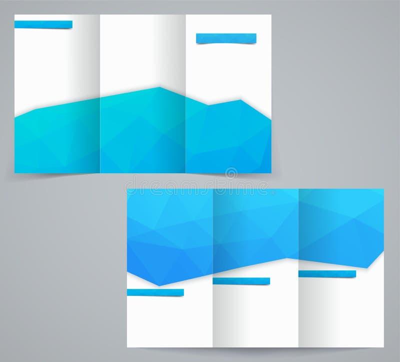 Plantilla del folleto del negocio de tres dobleces con los triángulos, el aviador corporativo o el diseño de la cubierta libre illustration