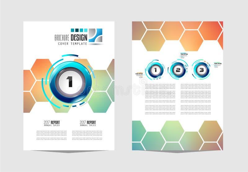 Plantilla del folleto, diseño del aviador o cubierta de Depliant para el negocio p stock de ilustración