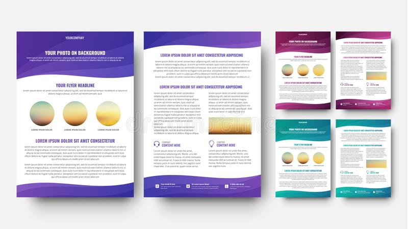 Plantilla del folleto en elementos ondulados del diseño stock de ilustración