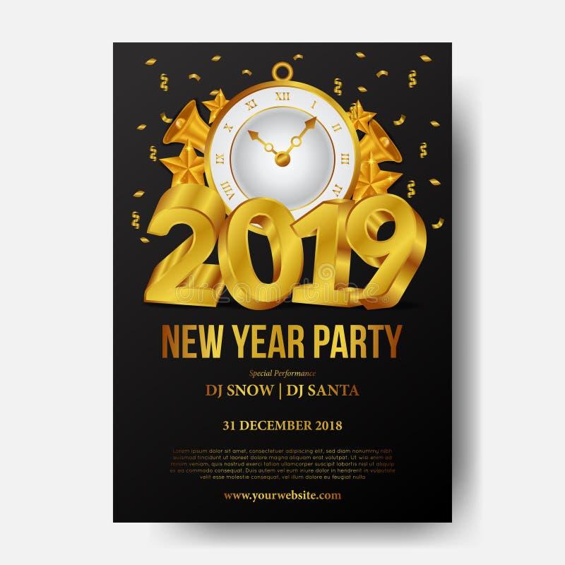 Plantilla del fondo del cartel de la Feliz Año Nuevo con número del oro 3d y el reloj clásico de oro Ilustración del vector stock de ilustración