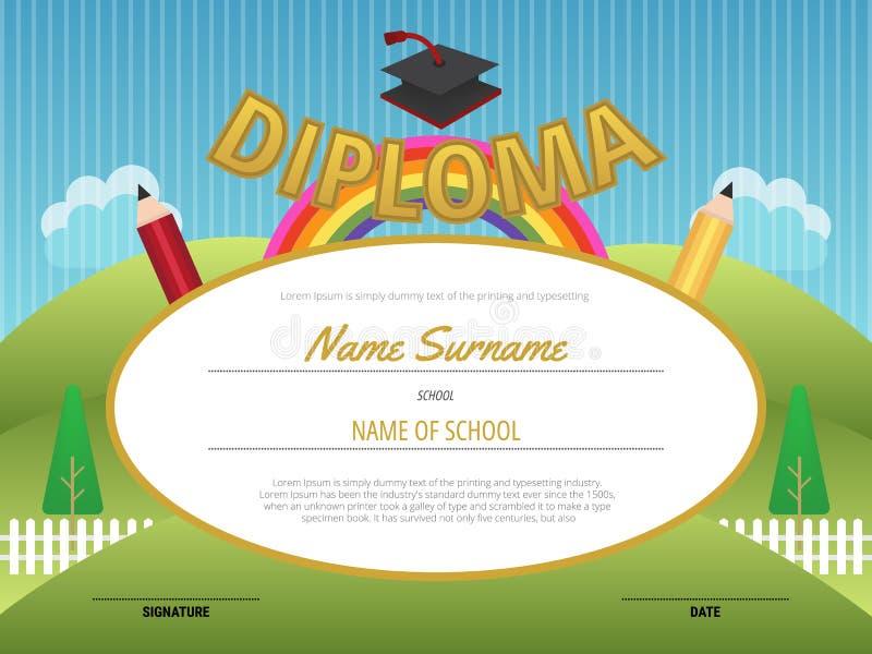 Plantilla del fondo del certificado del diploma de los niños, Elementa preescolar stock de ilustración