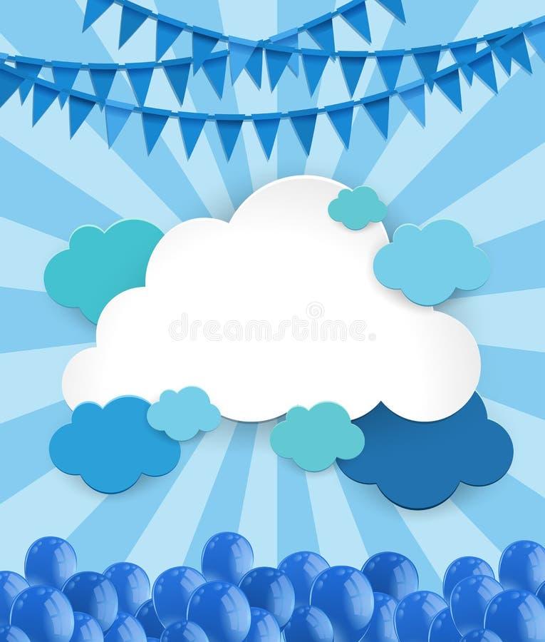 Plantilla del fondo con las nubes y los globos libre illustration