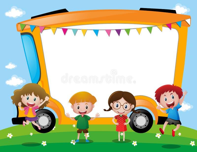 Plantilla del fondo con los niños de la escuela stock de ilustración