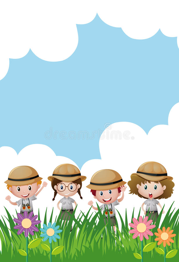 Plantilla del fondo con los niños en equipo del safari stock de ilustración