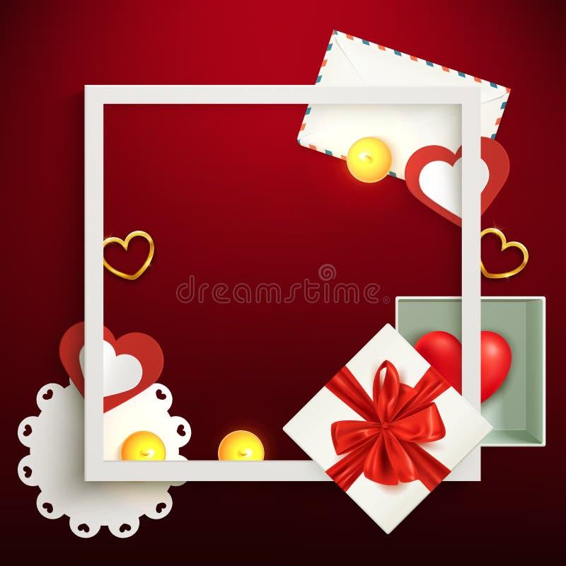 Plantilla del fondo del día de fiesta, cajas de regalo y marco festivos de la composición del confeti, cumpleaños, tarjeta del dí ilustración del vector