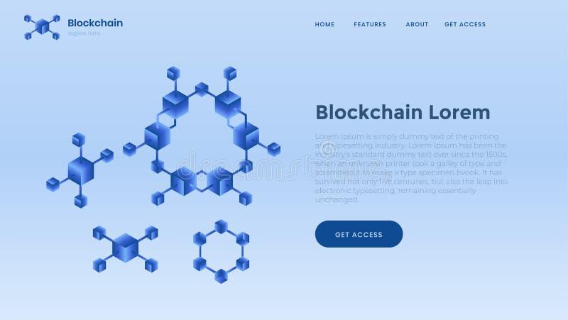 Plantilla del fondo de Blockchain Finanzas y dinero digital Concepto Crypto de la explotación minera de la moneda y del bitcoin ilustración del vector