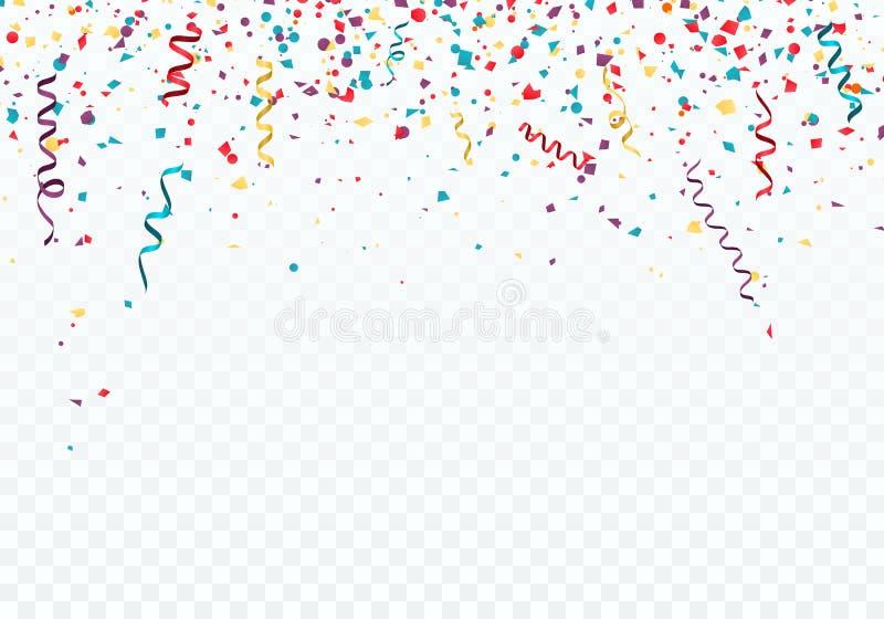 Plantilla del fondo de la celebración o del festival con confeti y cintas que caen Ilustración del vector ilustración del vector