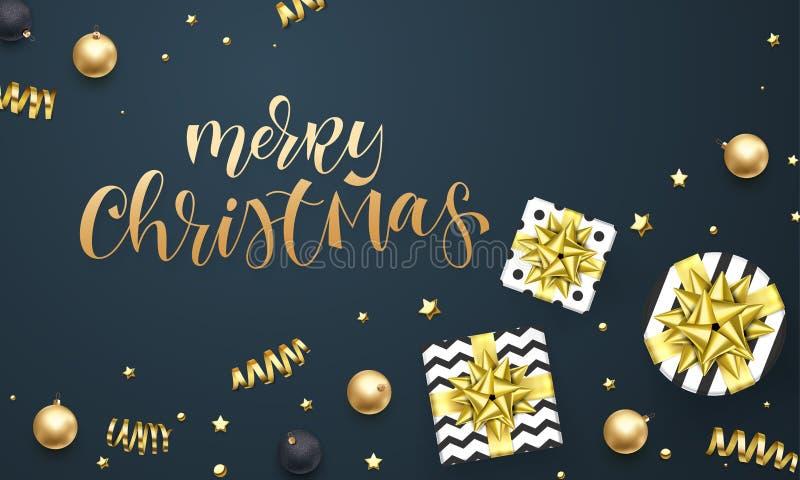 Plantilla del fondo de la tarjeta de felicitación de la Feliz Navidad de la cinta de oro del regalo o del confeti de las estrella libre illustration