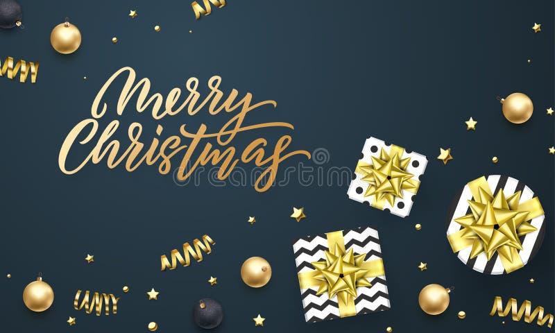 Plantilla del fondo de la tarjeta de felicitación de la Feliz Navidad de la cinta de oro del regalo o del confeti de las estrella ilustración del vector