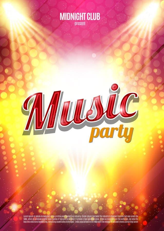 Plantilla del fondo del cartel del partido de la música - ejemplo del vector ilustración del vector