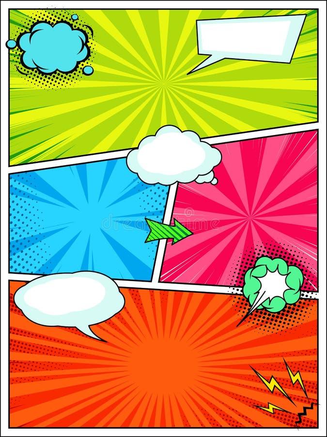 Plantilla del fondo del estilo del cómic, cartel del arte pop libre illustration