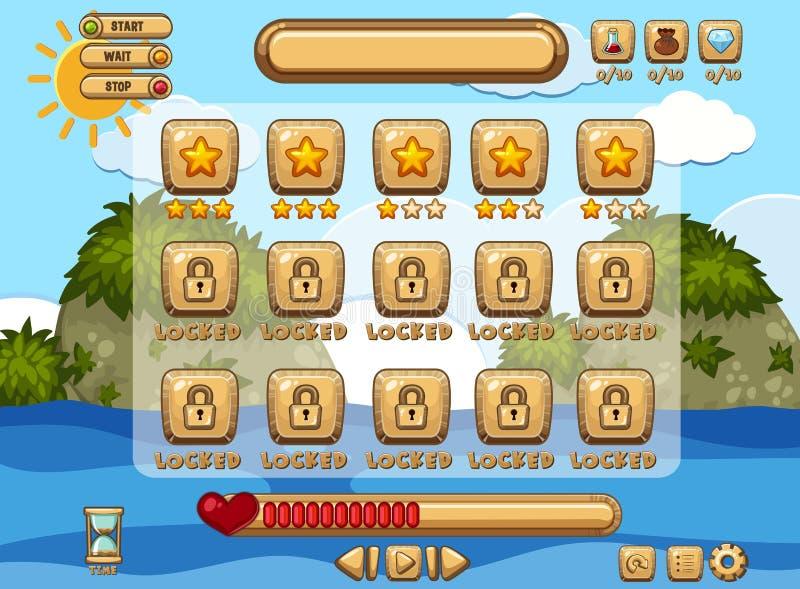 Plantilla del fondo del juego con la página del océano y de los niveles ilustración del vector