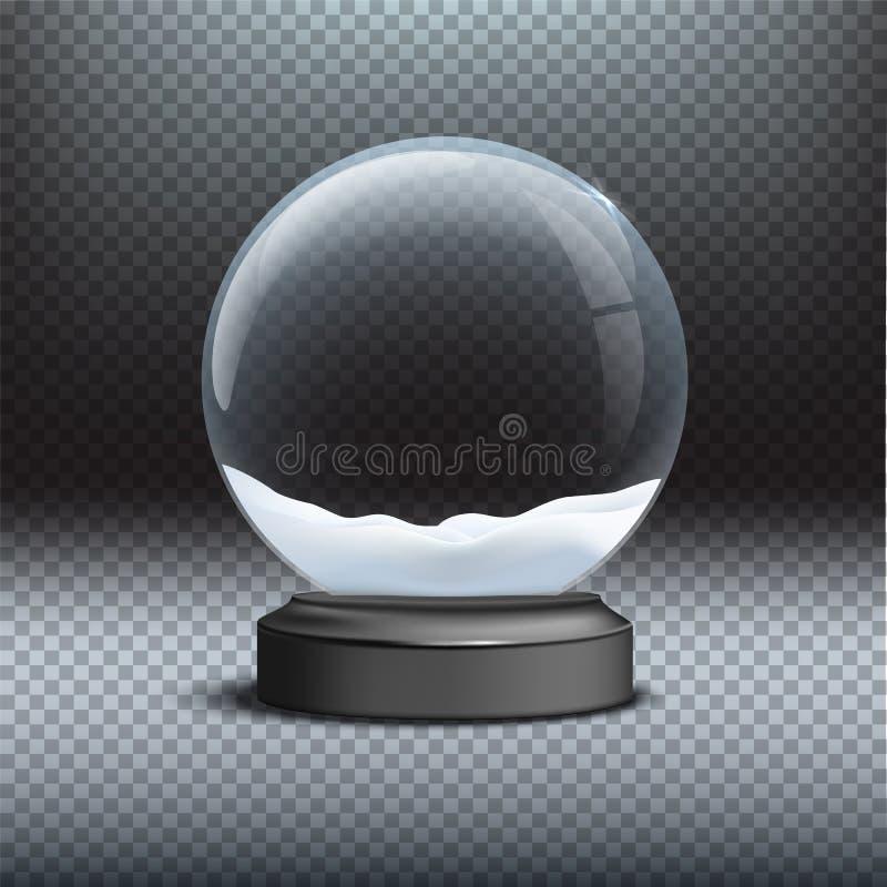 Plantilla del globo de la nieve Globo de cristal vacío de la nieve en fondo transparente La Navidad del vector y elemento del dis libre illustration