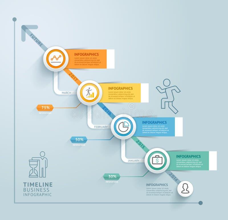 Plantilla del gráfico de la información de la cronología del negocio Ilustración del vector libre illustration